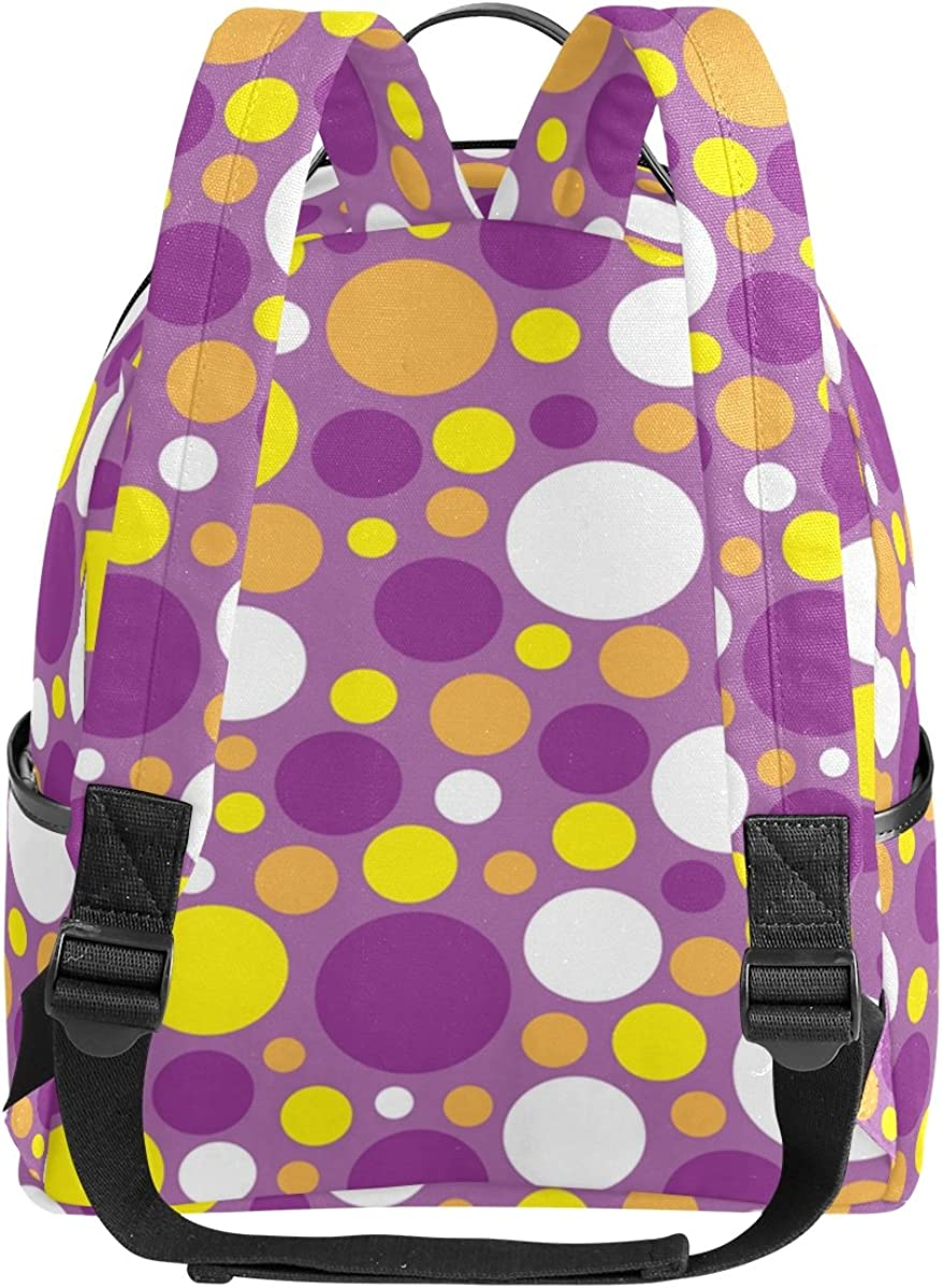 Mr.Weng Purple Circular Printed Canvas Backpack For Girl and Children