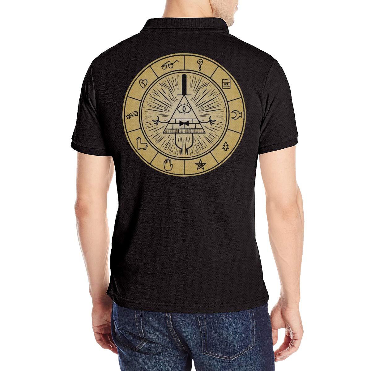 Arilce Gravity Falls Vintage Men Polo Shirt Short Sleeve Lapel Blouse Black