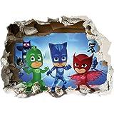 PJ Masks Smashed 3D Wall Sticker Boys Girls Bedroom Decal Kids Boys Girls