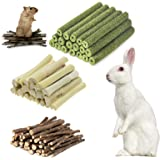 Hamster Chew Toys, Natural Apple Sticks Timothy Hay Sticks Sweet Bamboo 3 Types of Combined Chew Toys, for Rabbit Chinchilla
