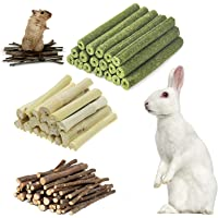 Hamster Chew Toys, Natural Apple Sticks Timothy Hay Sticks Sweet Bamboo 3 Types of Combined Chew Toys, for Rabbit…