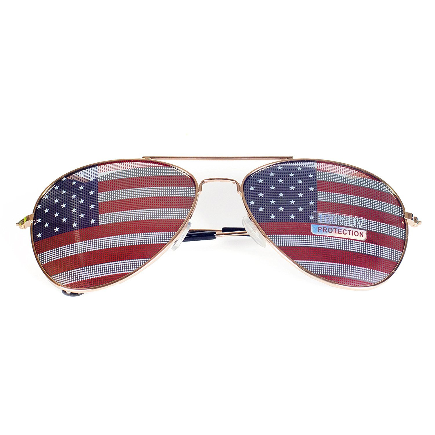 MJ Eyewear American Flag Aviator Sunglasses Glasses Gift Box (3 Pack Gold, USA FLAG)