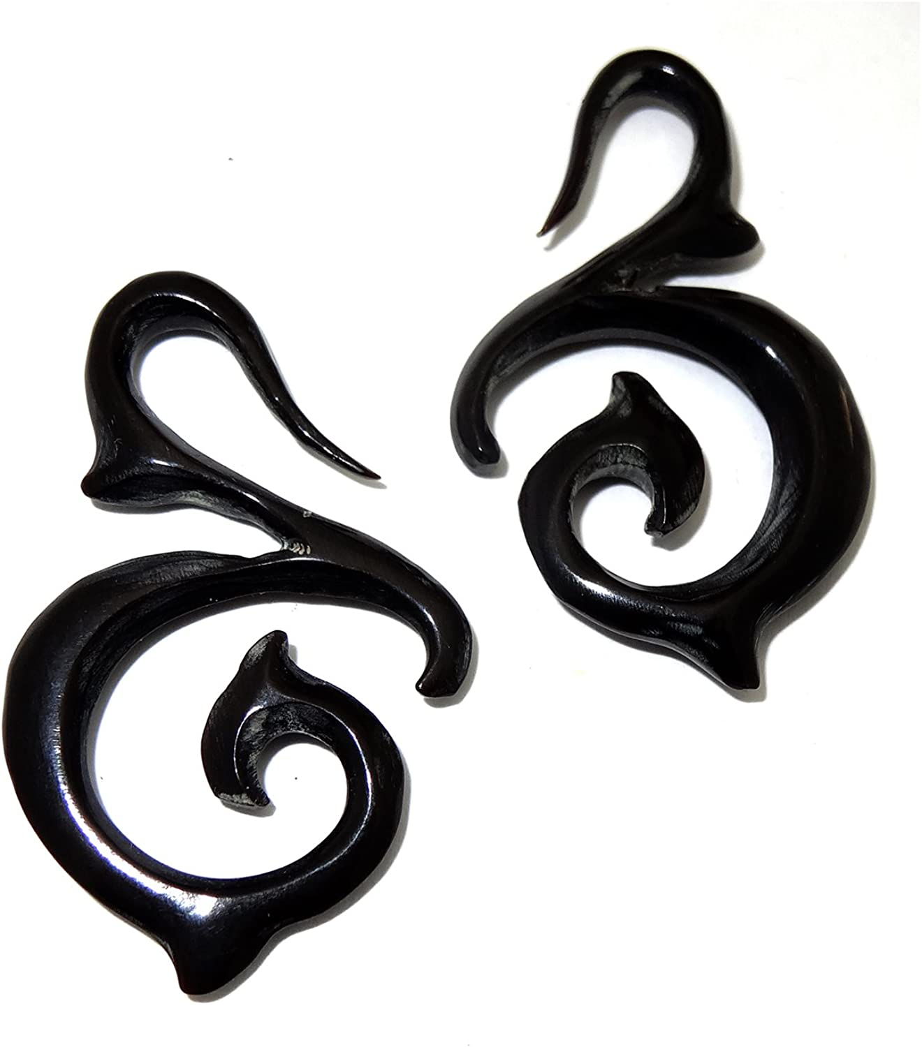 JewelryVolt A Pair of Spiral Hand Carved Organic Body Piercing Taper Pincher