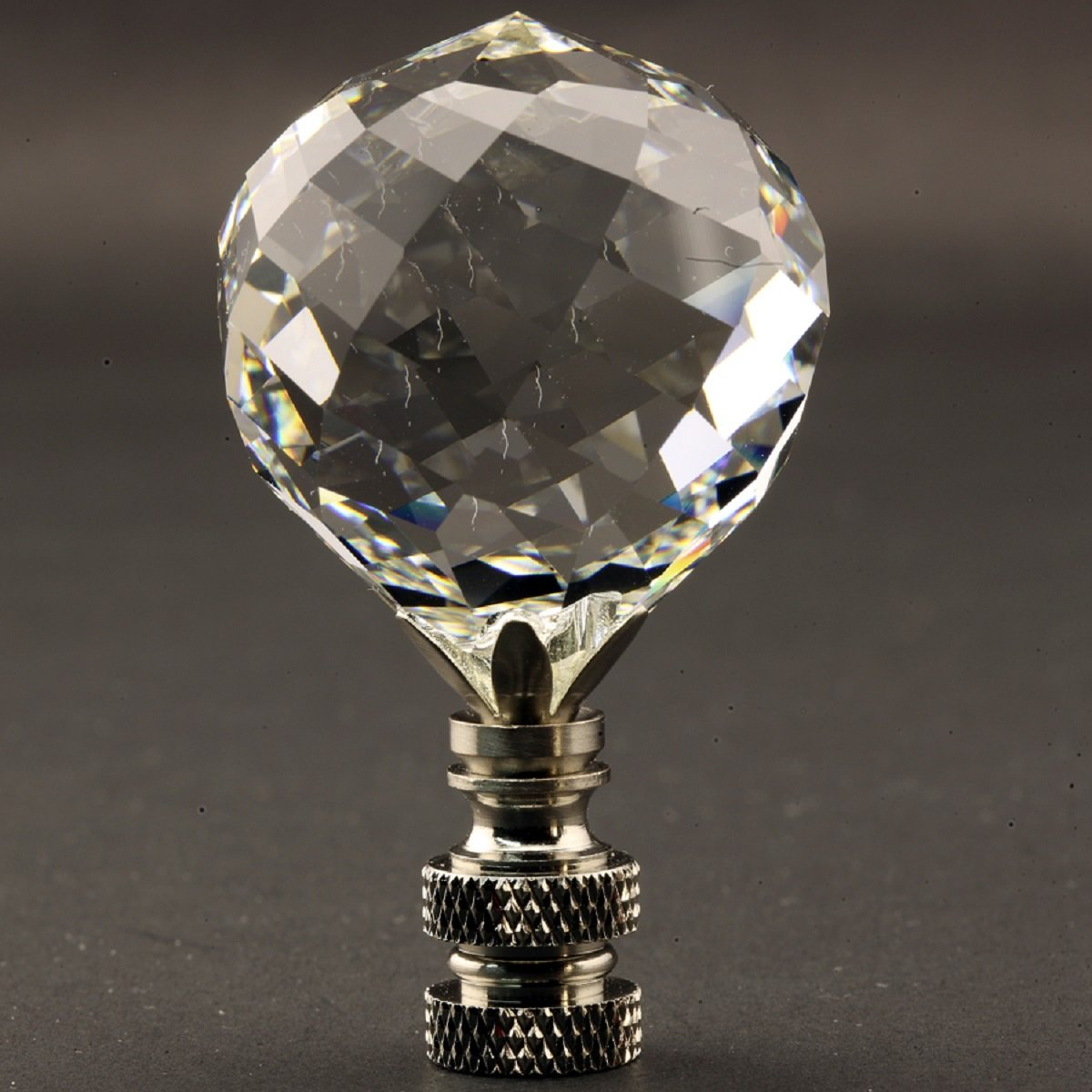Swarovski Crystal Faceted Ball 40MM (1.57'') Lamp Finial with antique brass base finish - 2.5 inch high (Burnished Nickel)
