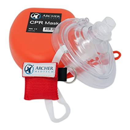 CPR Mask (with Bonus Keychain CPR Mask), First Aid Face Shield with One-Way Breath Valve, Archer MedTech Brand