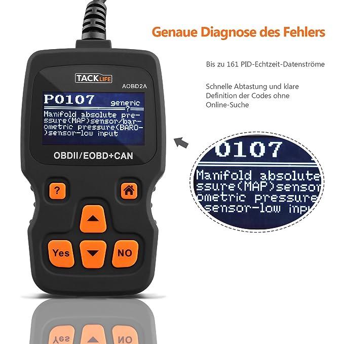 OBD2 Auto de escáner, tacklife aobd2 a escáner de diagnóstico con ...