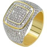 JINAO18K Gold Cluster ICED Out Lab Simulated Diamond Band Micropave Mens Bling Ring