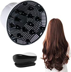 Hair Diffuser, Universal Hair Diffuser for Hair Dryer, Hair Dryer Diffuser Suitable for 1.4-inch to 2.6-inch Blow Dry, Professional Salon Tool for Fine Thick Curly Frizzy and Wavy Hair (White)