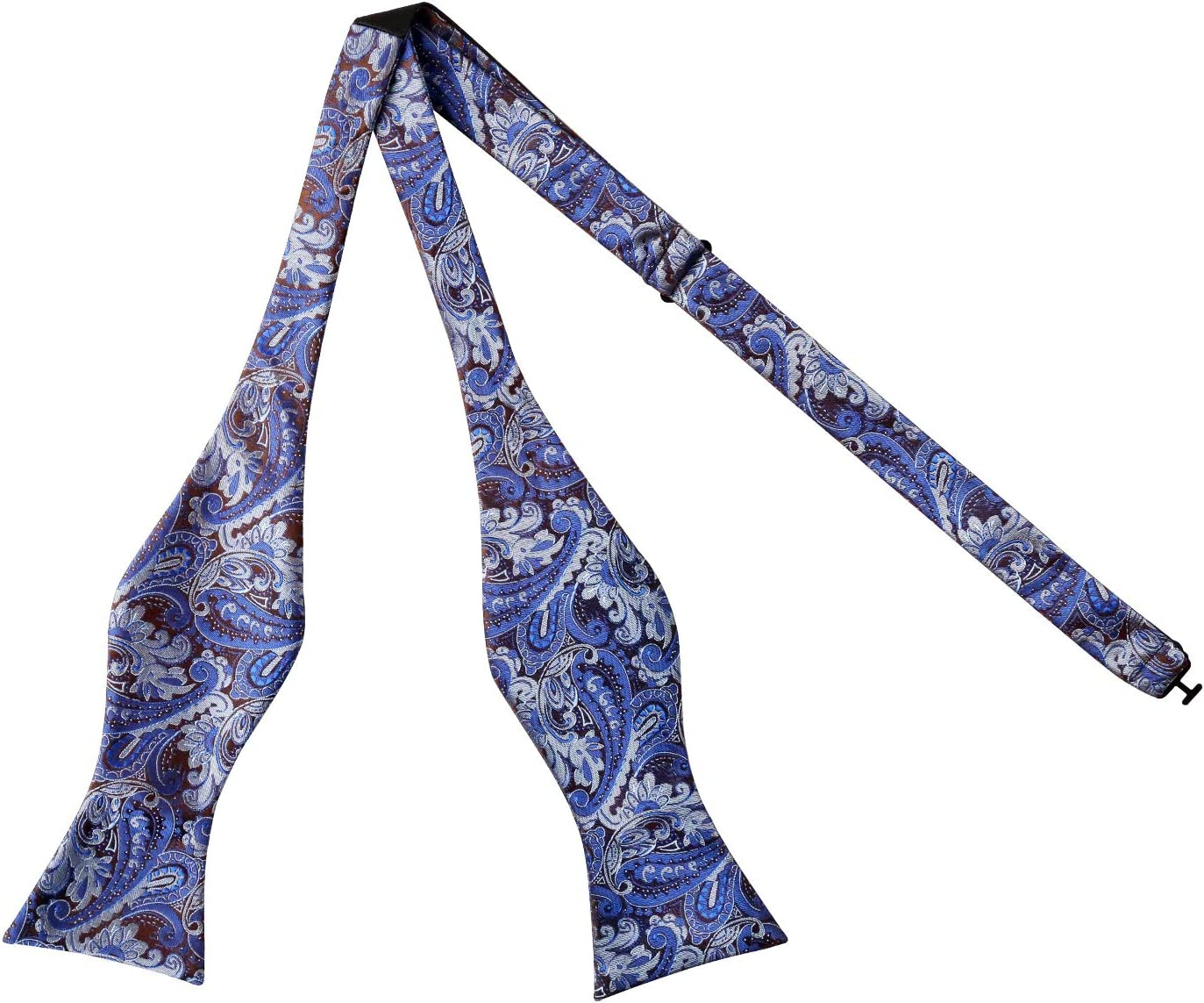 Yellow Alizeal Mens Paisley Jacquard Self Bow Tie Pocket Square Set