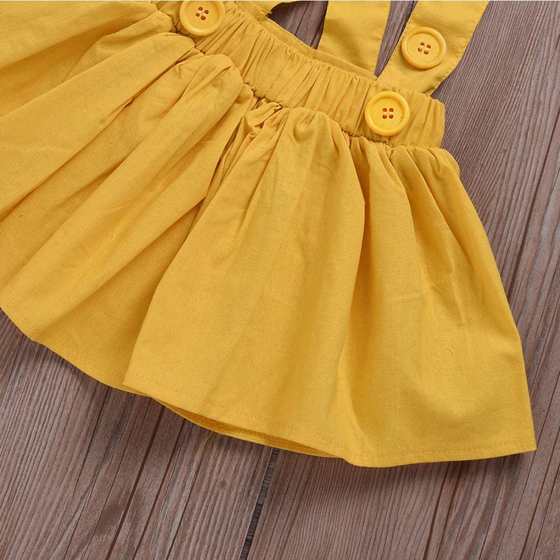Toddler Baby Kid Girls Dress Polka Dot Ruffle Sleeve Bowknot Shirt Suspender Skirt with Headband 3 PCs Outfits Sets