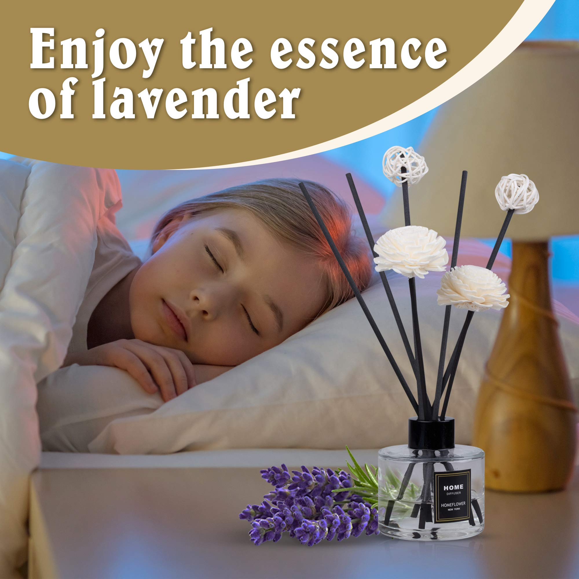 HomeFlower Reed Diffuser Set Lavender: Scent Sticks & Sola Flowers Included - Scented Liquid Fragrance Oil - Room Diffusers for Home or Bathroom - Made with FreshScent Premium Essential Oils - 4 oz by HomeFlower (Image #3)