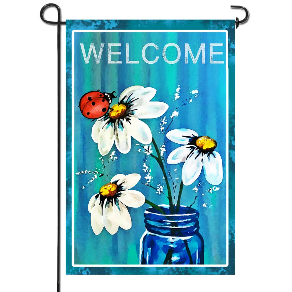 Anley |Double Sided| Premium Garden Flag, Spring Summer Daisy Jar and Ladybug Welcome Decorative Garden Flags - Weather Resistant & Double Stitched - 18 x 12.5 Inch