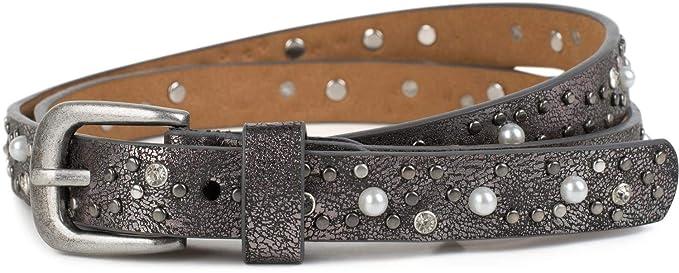 c856a40beb3057 styleBREAKER schmaler Gürtel mit Nieten, Perlen und Strass, Vintage  Nietengürtel, kürzbar, Damen