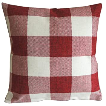 red white checkers plaids throw pillow case sham decor cushion covers square 18x18 inch linen