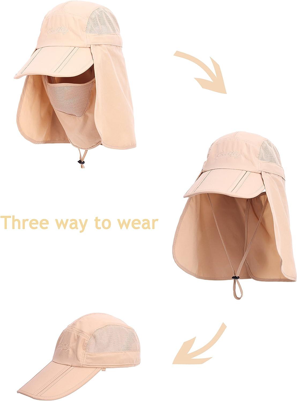 Unisex UV Protecci/ón Gorra de Safari con Protecci/ón del Cuello y Borde UV 50 Safari Hat para al Aire Libre b/éisbol Pesca Senderismo Playa Jardiner/ía