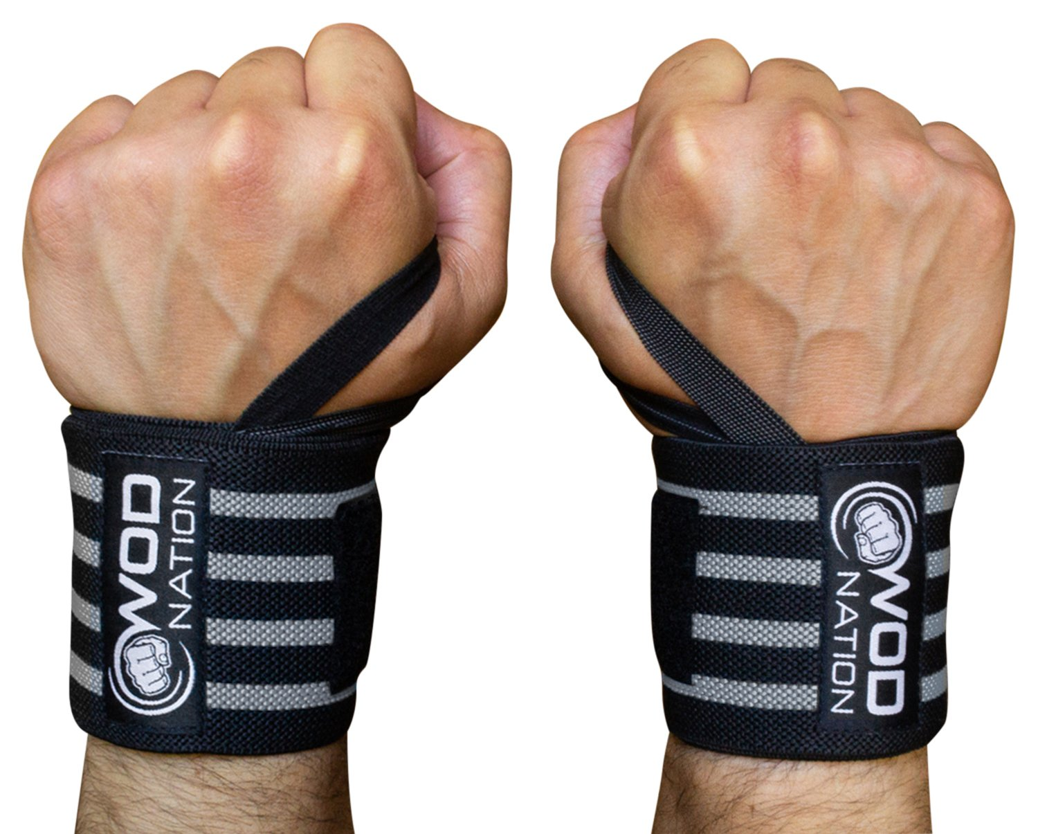 WOD Nation Wrist Wraps by Wrist Support Straps (12'', 18'' or 24'') - Fits Both Men & Women - Strength Training, Weightlifting, Powerlifting - Lift Heavier Weight (18 Inch - Black/Grey) by WOD Nation (Image #1)