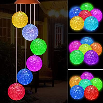 Solar LED Garden Outdoor Wind Chimes Colour Changing Lights Hanging Ball Decor