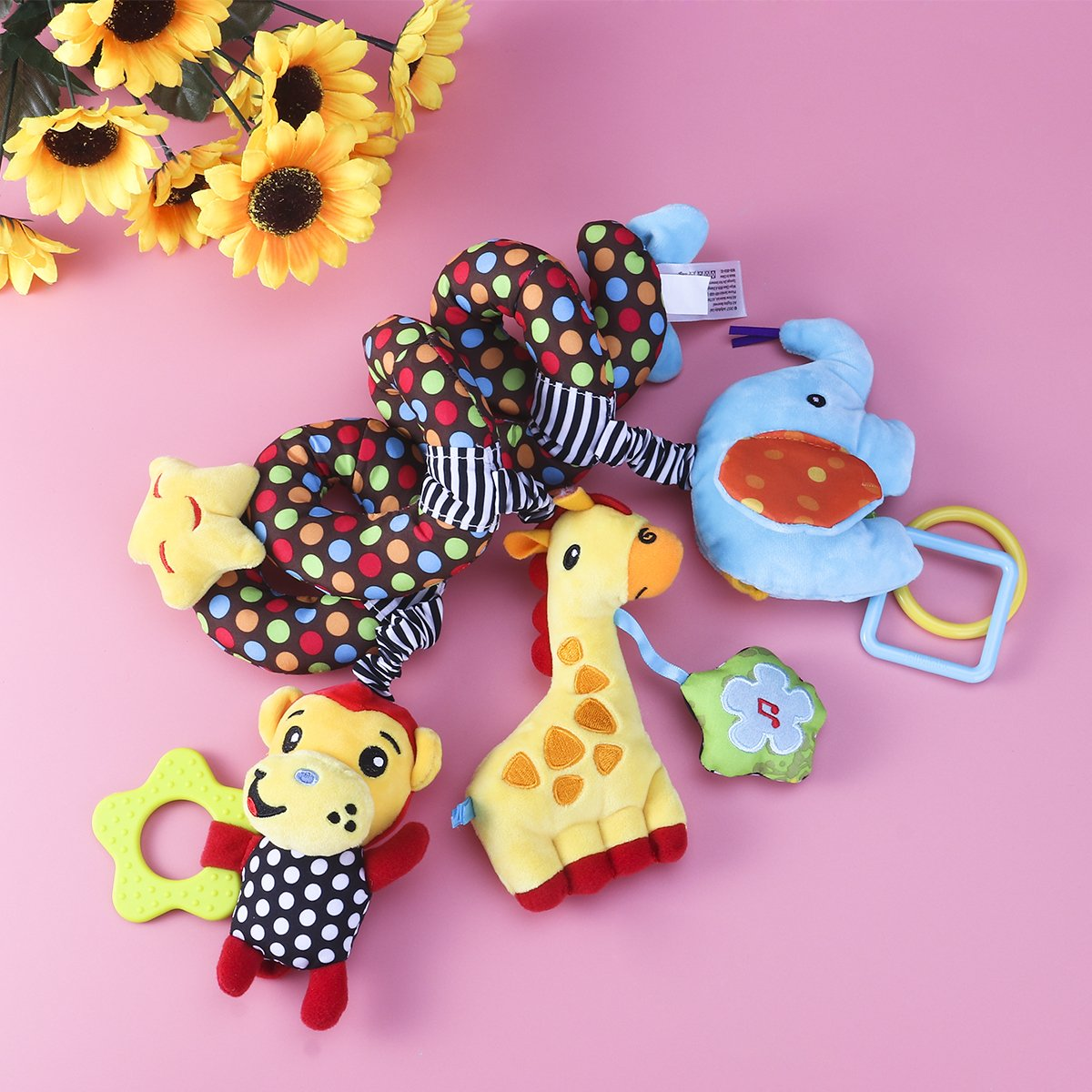TOYMYTOY Beb/é infantil actividad espiral cama cochecito juguete mono elefante peluche juguete educativo