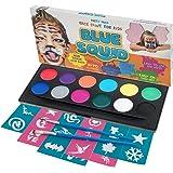 Blu Squid Face Paint kit per bambini. | 12colori, 30stampini, 2spazzole | Best Value Face painting set in caso di forte cosmetici | qualità vibrante a base d' acqua sicuro e non tossico vegan | + bonus free online tutorial