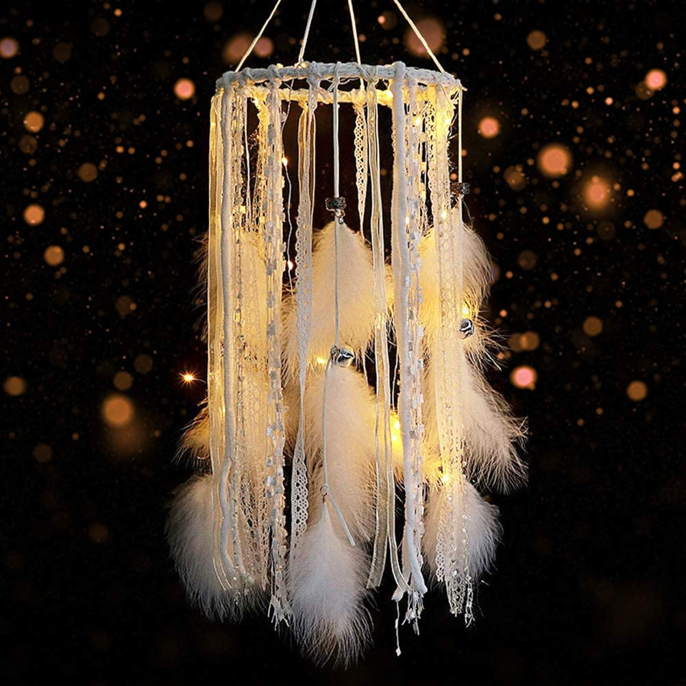 Alynsehom Feather Dream Catcher with LED Lights Silver Bells Large Boho Light up Dreamcatcher Baby Kids Bedroom Wall Hanging Decoration Wedding Party Ornament Gift Nursery Decor (White Feather)