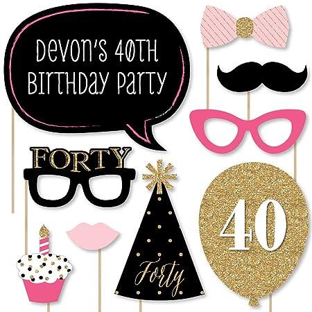 Custom Chic 40 cumpleaños - rosa, negro y dorado - Kit de ...