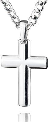 avec une boite /à bijou id/éale comme cadeau pour homme STERLL Cha/îne pour hommes avecun pendentif en forme de croix