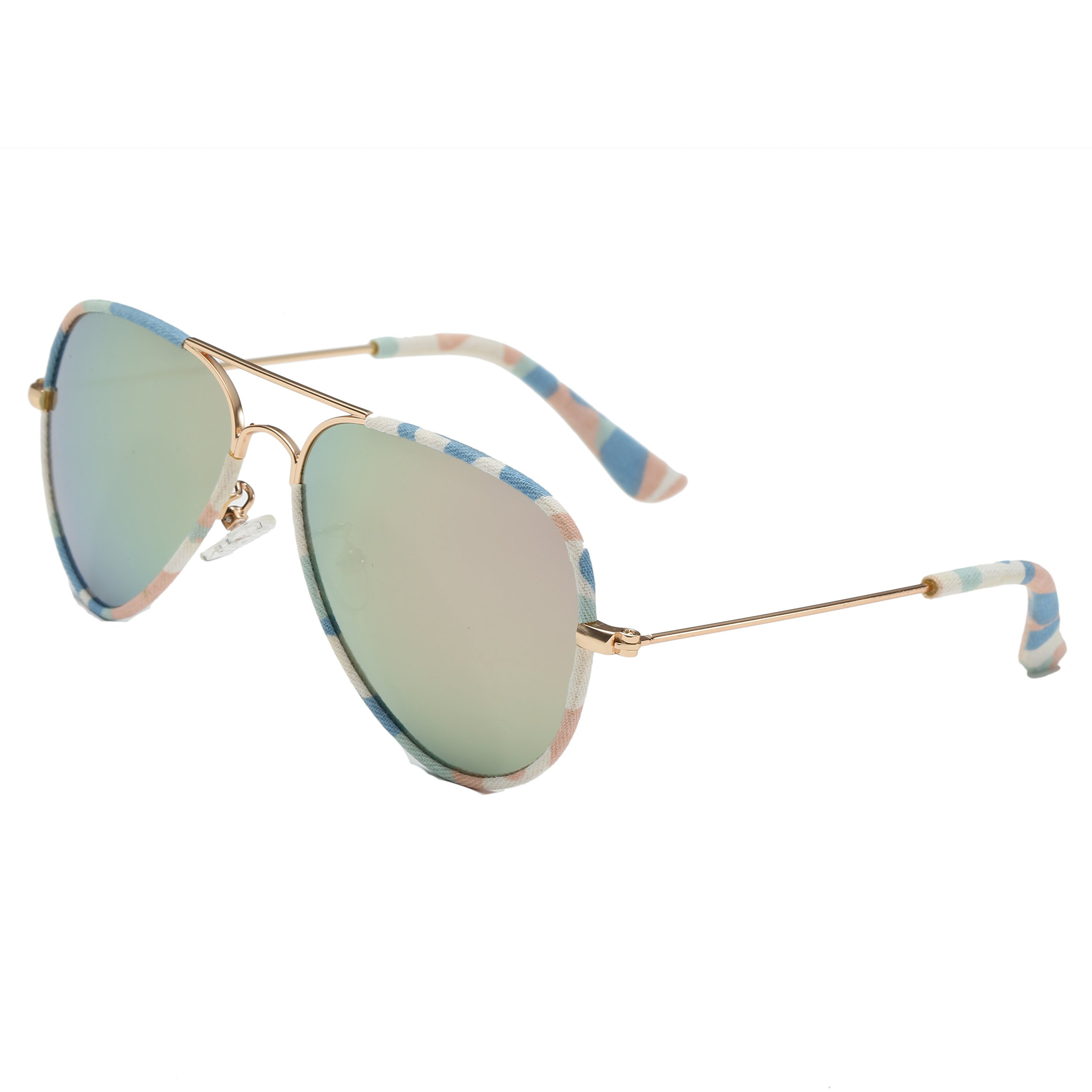 Evebright Kids Girls Aviator Polarized Sunglasses Metal Frame Pink Mirror Lens 2~12yr Old