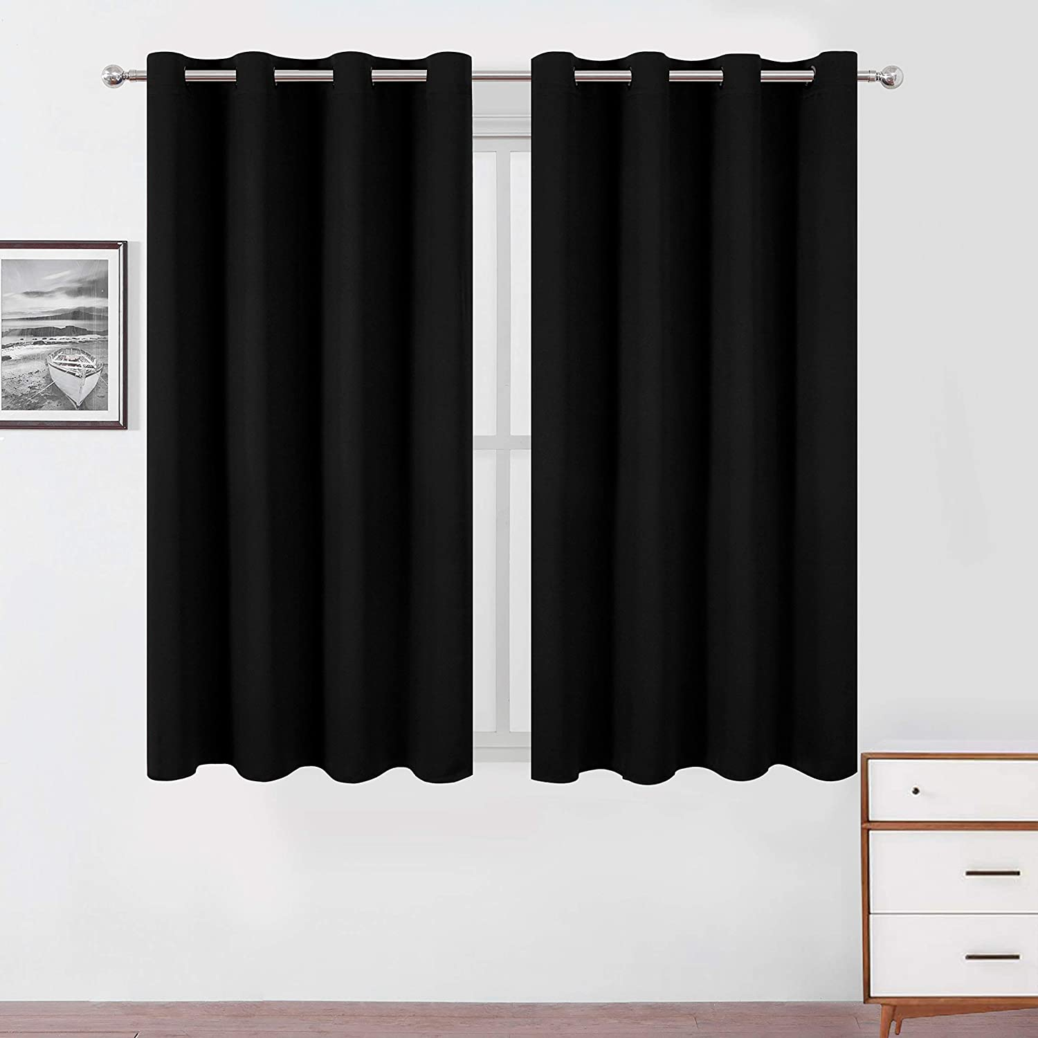 LEMOMO Black Blackout Curtains 52 x 63 Inch Length/Set of 2 Curtain Panels/Thermal Insulated Room Darkening Curtains for Bedroom and Living Room