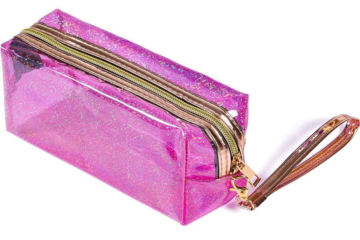 Clear Cosmetic Bag with Zipper, Holographic Travel Makeup Bag Large Capacity Toiletry Bag for Women Girls - 【Pink x 1】