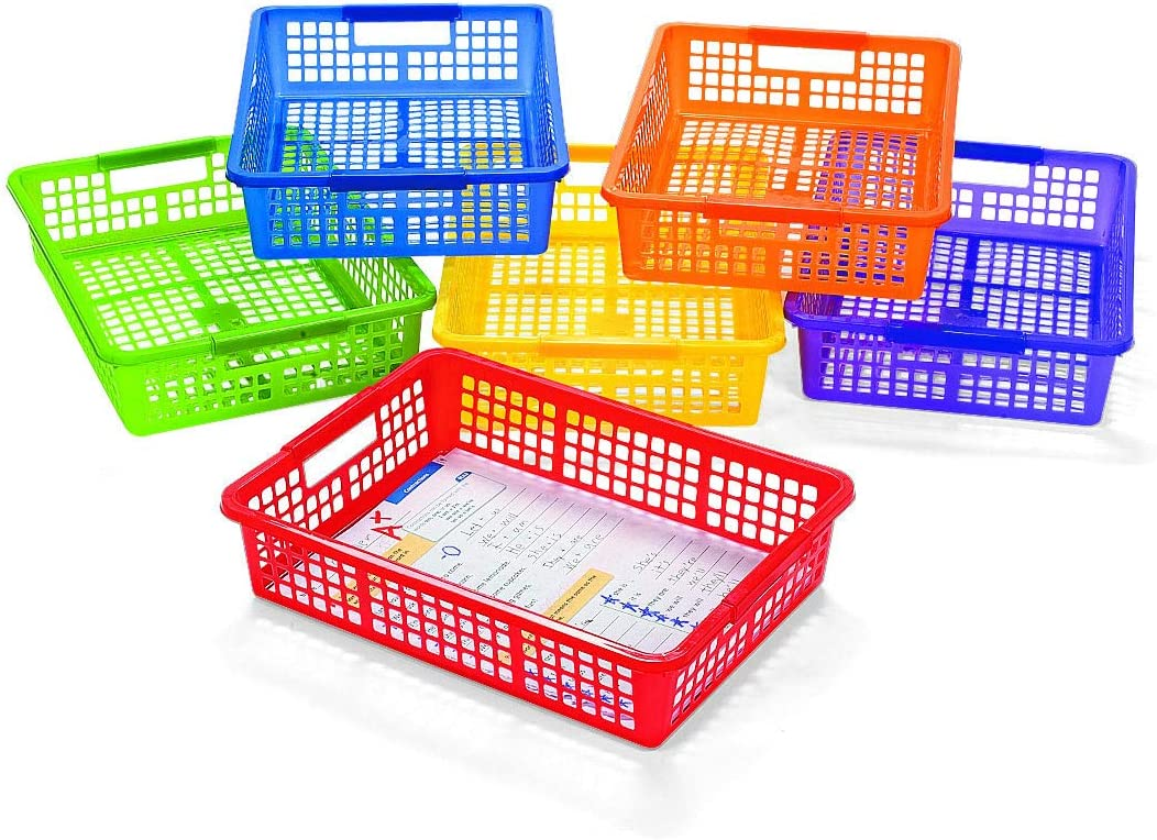 Fun Express Classroom Storage Basket with Handles - 6 Pieces - Educational and Learning Activities for Kids