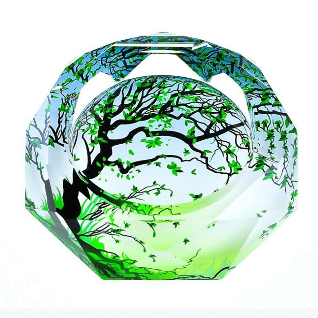 Huasen Home Ashtray Ashtray 3D Green Maple Leaves Color Printing Style Crystal Glass Fashion Creative Personality Gifts Living Room with Smoke Office Ashtray (Size : 25254cm) by Huasen (Image #1)
