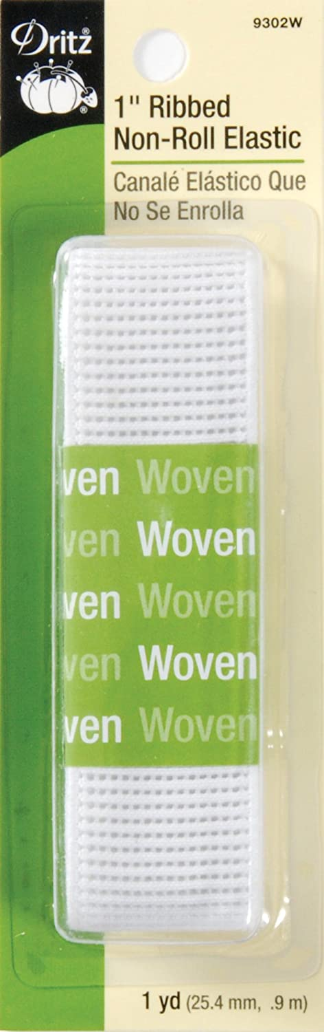 1//2-Inch by 1-Yard Dritz 9305W Ribbed Non-Roll Woven Elastic White