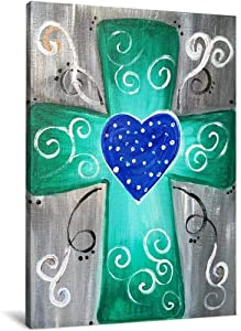 SZHC Wall Art Decor,Canvas Prints Painting for Bedroom Canvas Wall Art Green Cross with Blue Heart 16X20 inch