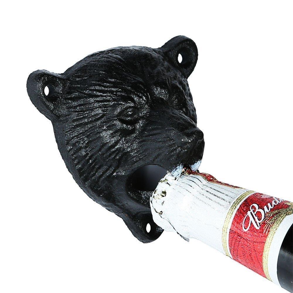 Sea Star Cast Iron Wall Mount Grizzly Bear Teeth Bite Bottle Opener with Black Catcher(black Catcher+black Bear)