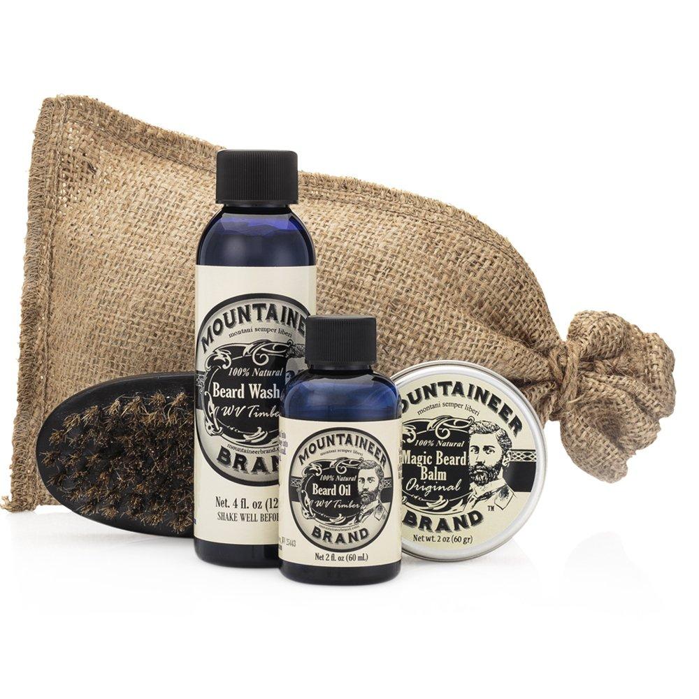 Mountaineer Brand 100% Natural Complete Beard Care Kit - Beard Wash, Beard Oil, Beard Balm, Beard Brush