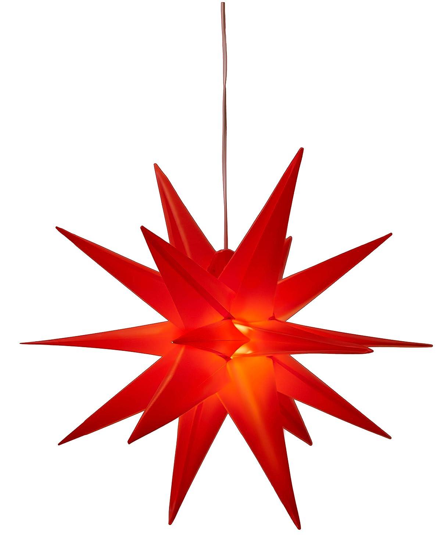 Estrella luminosa 3D con iluminación LED blanca cálida, apto para uso interior y exterior, (IP44), para colgar, 7,5m de cable [Clase de eficiencia energética A+++] KaMel