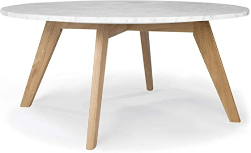 Poly and Bark Riley Real Marble Top End Side Coffee Table Round 30 Inch