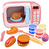 GrowthPic Kitchen Toy Microwave for Kids Electronic Pretend Play Oven Toy Play Set with Play Food and Play Dough for…