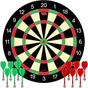 Funsparks Magnetic Dart Board Game - 12 Darts - 6 Green and 6 Red Darts – Best Kids Toy Gift Indoor Outdoor Games for Family and Friends – Safe Dart Game Set