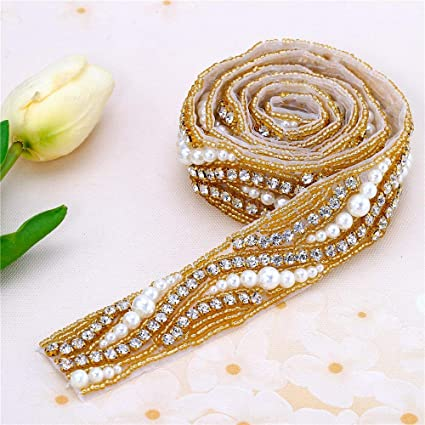 Image Unavailable. Image not available for. Color  Gold Beaded Bridal  Rhinestone Applique Trim 1 Yard ... 373169de719f