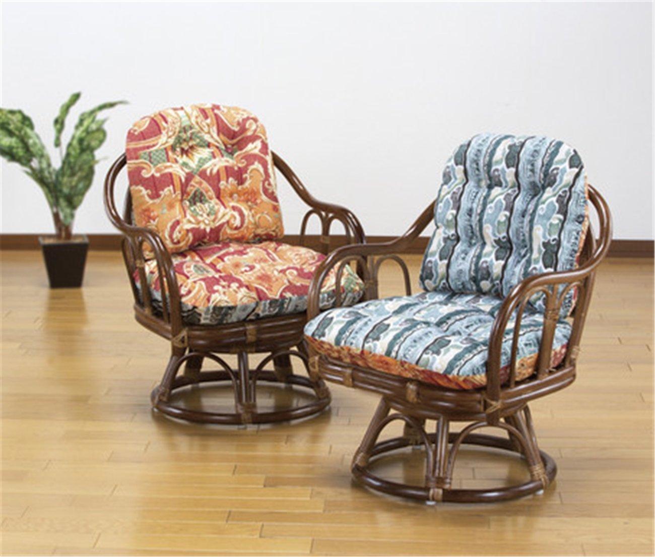 天然籐 回転高座椅子 2脚組 B01JZ1JSRA