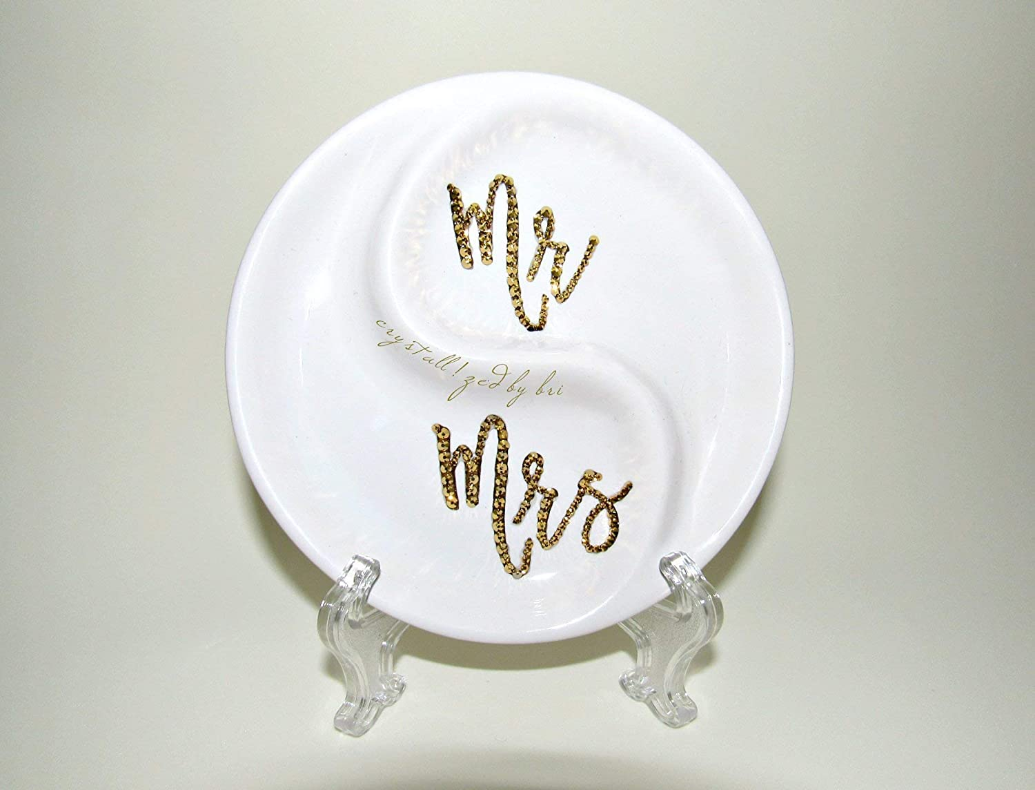 Swarovski CRYSTALLIZED Mr. Mrs. Ring Dish Gold White Bling Crystals Wedding
