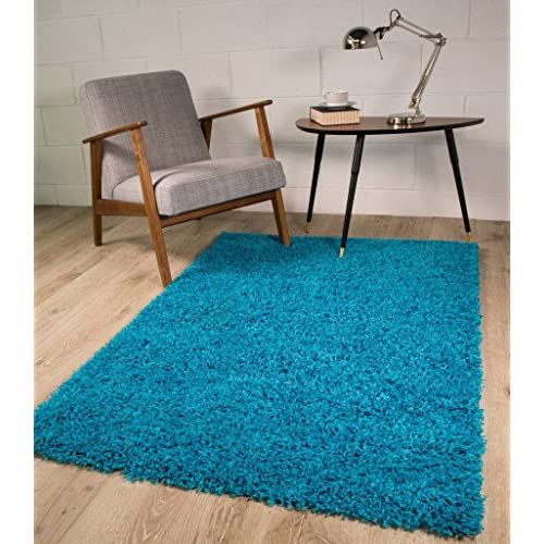 The Rug House TEAL BLUE LUXURIOUS THICK SHAGGY RUGS 7 120cmx170cm (4ft X  5ft6)