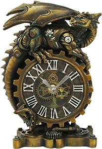 Pacific Giftware Steampunk Gearwork Mechanical Dragon Desktop Clock Home Office Workplace Decor