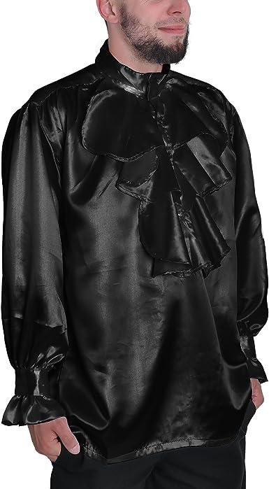 Ropa medieval - Camisa con volantes y de raso - negro - XL ...