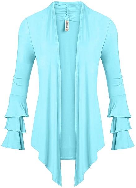 79fd51bb95 Simlu Womens Open Front Cardigan Sweater Ruffle Long Sleeve Cardigan ...