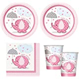 pink Umbrellaphants girl babyshower Party Supplies - Plates, Napkins & cups