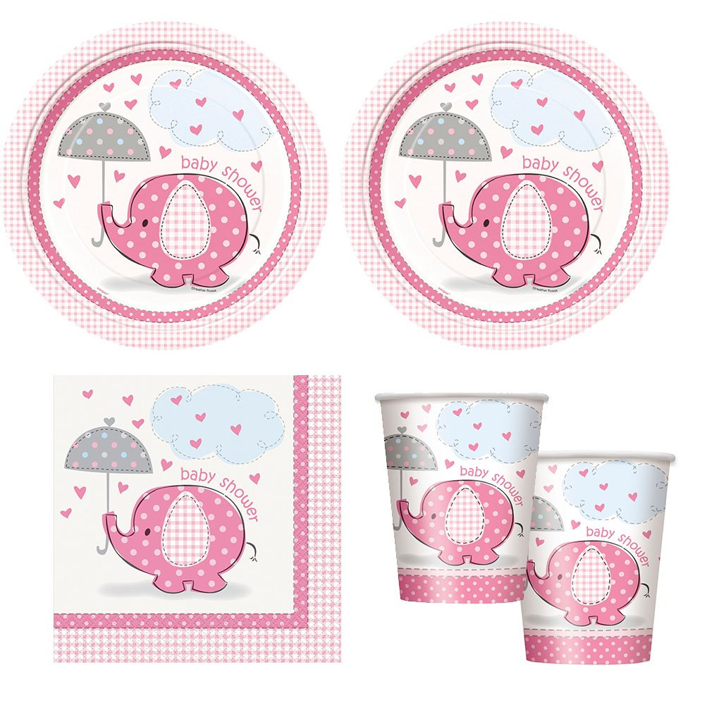 pink Umbrellaphants girl babyshower Party Supplies - Plates, Napkins & cups by BERT