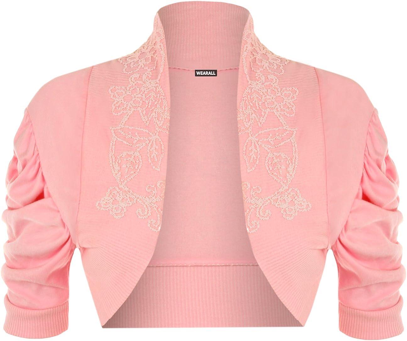12//14 WearAll Ladies Ruched Shrug Womens Beaded Design Short Sleeve Bolero Cardigan Top Sizes 8//10