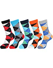 EGOGO 5 Pairs Fun Novelty Cotton Socks Colorful Crazy Cool Dress Casual Crew Socks for Men and Women E611-3